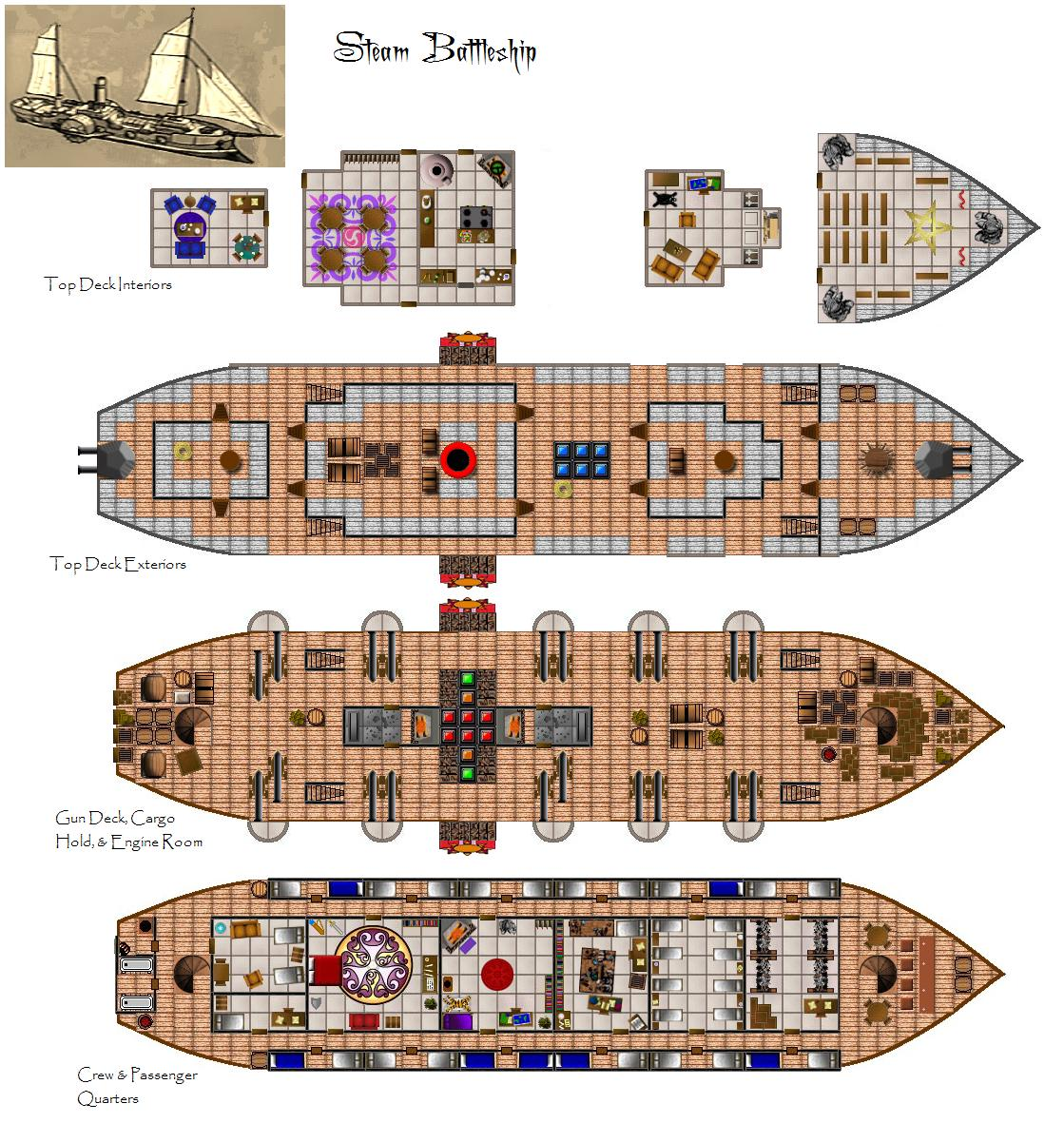 4e steamboat 4e vehicle for The world deck plans